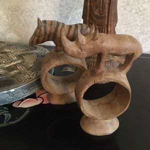 Vintage Carved Wooden Safari Animal Napkin Rings